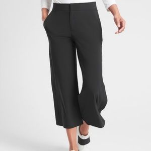 Athleta Tribeca Crop Wide Leg Pants Black 0P